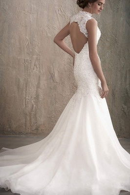 Sleeveless White Floral Lace Tulle Mermaid Wedding Dress Crew Neck  Bridal Gown_2