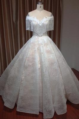 Romantic Tassels Off Shoulder Glitter Sequins Wedding Gown Garden Bridal Dress for Bride_1