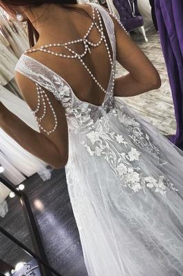Charming Deep V-Neck Aline Wedding Dress Sleeveless Bridal Dress_2
