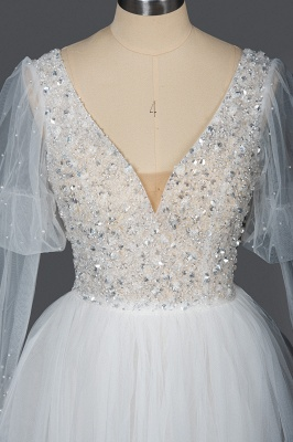 Gorgeous V-Neck Shinny Sequins Aline Wedding Gown Sheer Sleeves Spring Bridal Gown_7