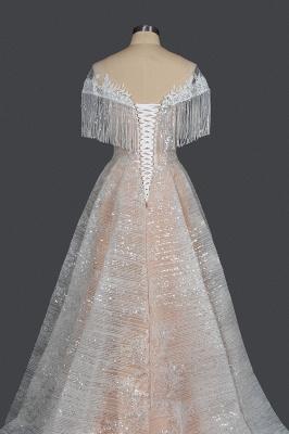 Romantic Tassels Off Shoulder Glitter Sequins Wedding Gown Garden Bridal Dress for Bride_2