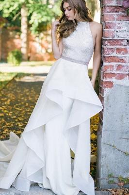 Stylish Halter White Simple Garden Wedding Dress_3
