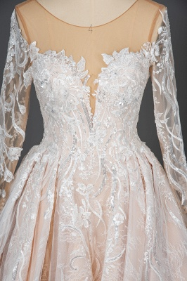 Glamorous Floral Lace Ball Gown Long Sleeves Aline Bridal Dress for Girls Women_6