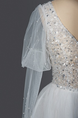 Gorgeous V-Neck Shinny Sequins Aline Wedding Gown Sheer Sleeves Spring Bridal Gown_6