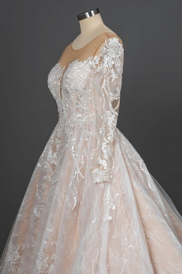 Glamorous Floral Lace Ball Gown Long Sleeves Aline Bridal Dress for Girls Women_10