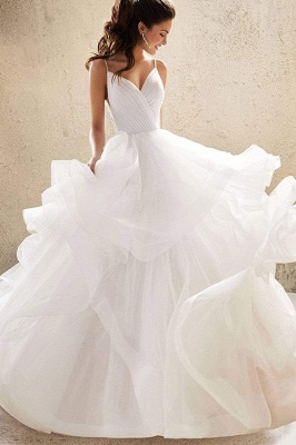 Sweetheart Spaghetti Straps Puffy Wedding Dress Sleeveless Simple Bridal Dress_7