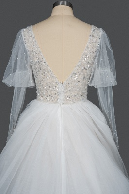 Gorgeous V-Neck Shinny Sequins Aline Wedding Gown Sheer Sleeves Spring Bridal Gown_2