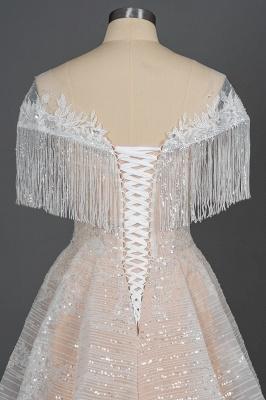 Romantic Tassels Off Shoulder Glitter Sequins Wedding Gown Garden Bridal Dress for Bride_7