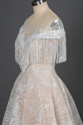 Romantic Tassels Off Shoulder Glitter Sequins Wedding Gown Garden Bridal Dress for Bride_5