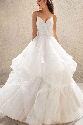 Sweetheart Spaghetti Straps Puffy Wedding Dress Sleeveless Simple Bridal Dress_9
