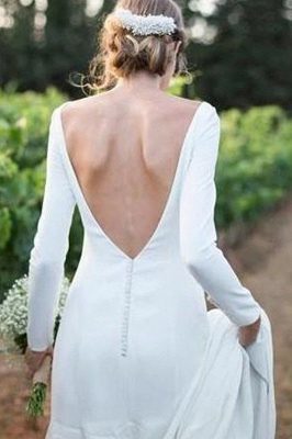 Bateau Long Sleeves White Simple Wedding Reception Dress_2