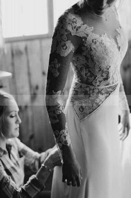 White Tulle Long Sleeves Einfaches Hochzeitskleid Bodenlanges Puffy-Kleid für die Braut_5