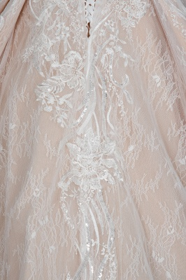Glamorous Floral Lace Ball Gown Long Sleeves Aline Bridal Dress for Girls Women_4