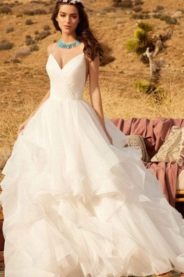 Sweetheart Spaghetti Straps Puffy Wedding Dress Sleeveless Simple Bridal Dress_5