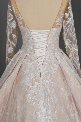Glamorous Floral Lace Ball Gown Long Sleeves Aline Bridal Dress for Girls Women_9