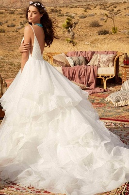 Sweetheart Spaghetti Straps Puffy Wedding Dress Sleeveless Simple Bridal Dress_3