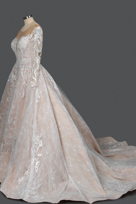 Glamorous Floral Lace Ball Gown Long Sleeves Aline Bridal Dress for Girls Women_3
