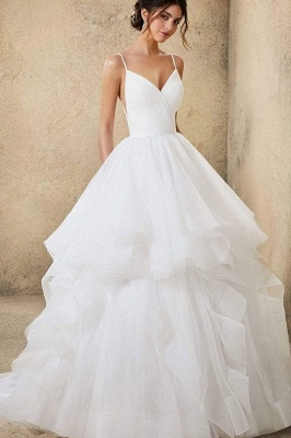 Sweetheart Spaghetti Straps Puffy Wedding Dress Sleeveless Simple Bridal Dress_6