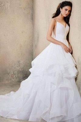 Sweetheart Spaghetti Straps Puffy Wedding Dress Sleeveless Simple Bridal Dress_2