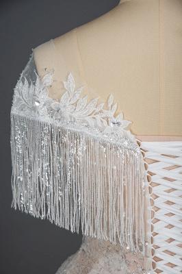 Romantic Tassels Off Shoulder Glitter Sequins Wedding Gown Garden Bridal Dress for Bride_3