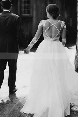 White Tulle Long Sleeves Einfaches Hochzeitskleid Bodenlanges Puffy-Kleid für die Braut_2