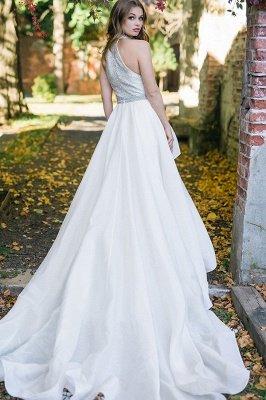 Élégant licou blanc robe de mariée simple jardin_2
