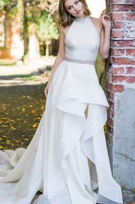Stylish Halter White Simple Garden Wedding Dress