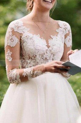 Vestido de novia simple con mangas largas de tul blanco Vestido hinchado hasta el suelo_3