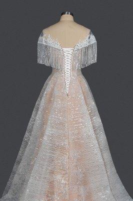 Borlas románticas fuera del hombro lentejuelas brillo vestido de novia jardín vestido de novia para novia_2