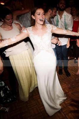 Vestido de novia simple con mangas largas de tul blanco Vestido hinchado hasta el suelo_4