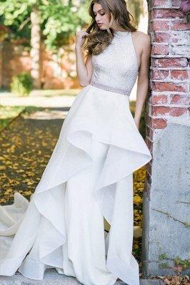 Élégant licou blanc robe de mariée simple jardin_3