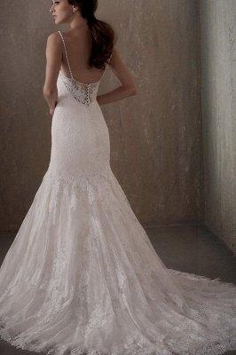 Elegant Sleeveless White Lace Wedding Dress Scoop Neck Mermaid Wedding Dress_2