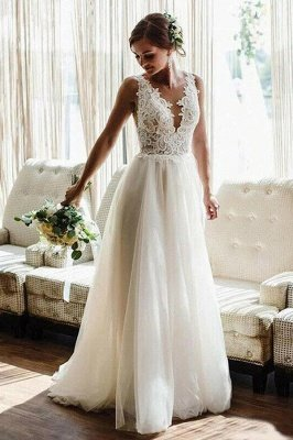 White/Ivory V-Neck Tulle Lace Wedding Dress Aline Floor Length Bridel Dress