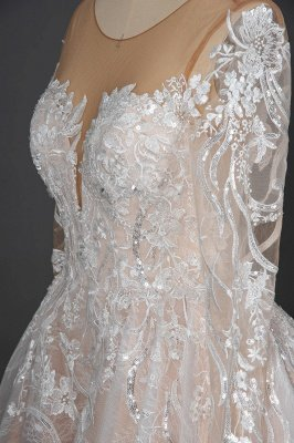 Glamorous Floral Lace Ball Gown Long Sleeves Aline Bridal Dress for Girls Women_8