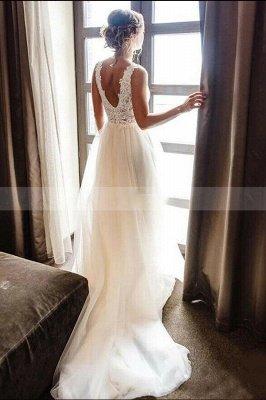 Vestido de novia de encaje de tul con cuello en V blanco / marfil Vestido de novia largo hasta el suelo de Aline_2