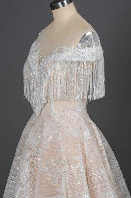 Borlas románticas fuera del hombro lentejuelas brillo vestido de novia jardín vestido de novia para novia_5