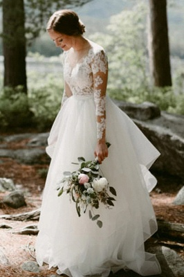 White Tulle Long Sleeves Simple Wedding Dress Floor Length Puffy Dress for Bride