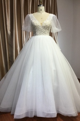 Gorgeous V-Neck Shinny Sequins Aline Wedding Gown Sheer Sleeves Spring Bridal Gown
