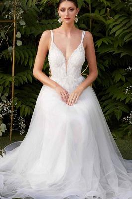 Elegant Spaghetti Straps V-Neck Tulle A-line Wedding Dress_2