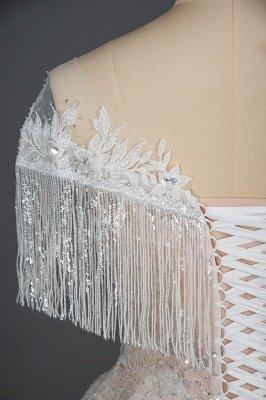 Borlas románticas fuera del hombro lentejuelas brillo vestido de novia jardín vestido de novia para novia_3