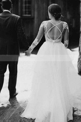 Vestido de novia simple con mangas largas de tul blanco Vestido hinchado hasta el suelo_2