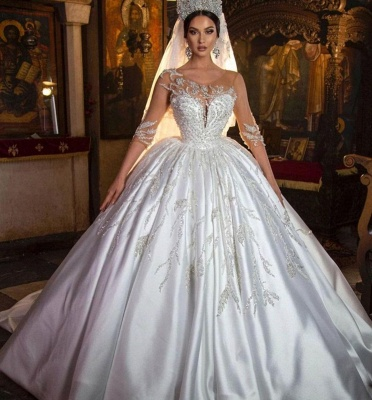 Gorgeous Crew Neck 3D  Floral Ball Gown Long Sleeves Aline Bridal Dress For Bride_2
