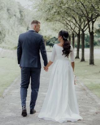 Elegante weiße lange Ärmel Aline Brautkleid Einfache Garten Brautkleid für die Braut_2