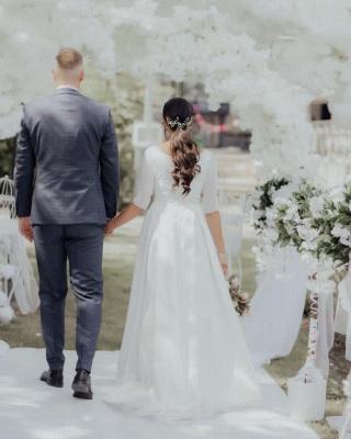 Elegante weiße lange Ärmel Aline Brautkleid Einfache Garten Brautkleid für die Braut_3