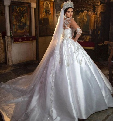 Gorgeous Crew Neck 3D  Floral Ball Gown Long Sleeves Aline Bridal Dress For Bride_3
