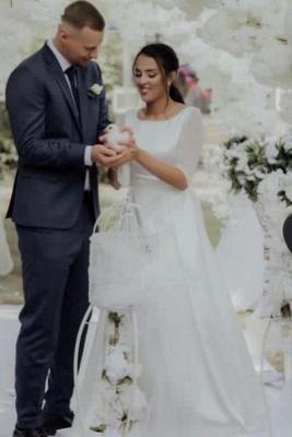 Elegante weiße lange Ärmel Aline Brautkleid Einfache Garten Brautkleid für die Braut_1