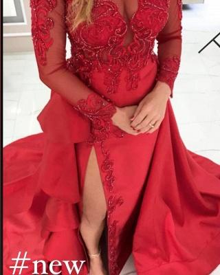 Elegant Red Long Sleeve Lace Appliques Evening Dress Side Slit Party Dress_2