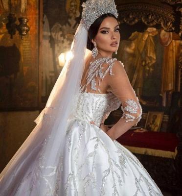 Wunderschönes 3D-Blumenballkleid mit Rundhalsausschnitt und langen Ärmeln Aline Bridal Dress For Bride_4