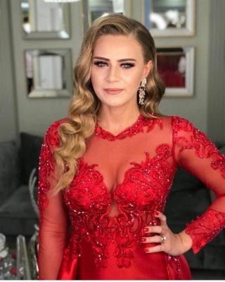 Elegant Red Long Sleeve Lace Appliques Evening Dress Side Slit Party Dress_3