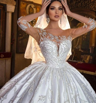Gorgeous Crew Neck 3D  Floral Ball Gown Long Sleeves Aline Bridal Dress For Bride_6